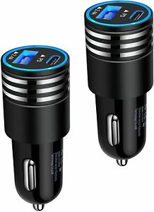 2Pack 30W USB C Car Charger PD Fast Charge Dual Port USB Type C and 2.4a USB A