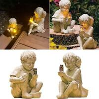 Lighted Boys Sculpture - Solar LED Light-up Boys , Firefly Jar Garden Statue