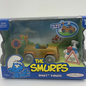 The Smurfs Jakks Pacific Pull Back Motor Vehicle Toy Play Set 2009 Smurf Car new