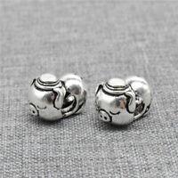 2pcs of 925 Sterling Silver Oxidized Pig Piggy Beads 3D for Pet Animal Bracelet