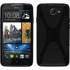 Silikon Hülle für HTC Desire 516 schwarz X-Style + 2 Schutzfolien