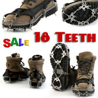 18Teeth NO-Slip Ice Snow Grip Climbing Hiking For Boots Shoes Cleats Crampons US