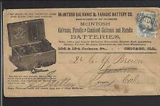 CHICAGO, ILLINOIS COVER,1CT BANKNOTE,FULL, McINTOSH GALVANIC &FARADIC BATTERY.