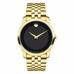 100% New Movado 0606997 Museum Classic Black Dial Yellow PVD Analog Men's Watch