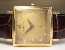1950's Hamilton 14K Solid Yellow Gold 770 22J Square Vintage Men's Watch AAA