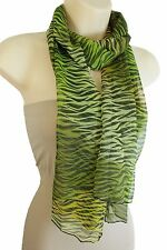 Women Black Green Long Soft Fabric Scarf Wrap Neck Tie Animal Print Zebra Casual
