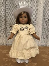 TENNEY YELLOW DRESS WITH  WHITE BOOTS/COWBOY HAT #2  FITS AMERICAN GIRL