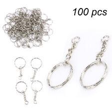 100pcs Keyring Blanks Silver Tone Key Chains Findings Split Rings 4 Link 25mm