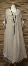 LAGENLOOK OVERSIZED LINEN ASYMMETRICAL A-LINE LONG DRESS**BEIGE**BUST UP TO 50""