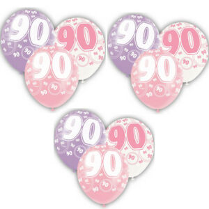 Age 90th Birthday Balloons,Pack of 6,Glitz Pink /2 Pc each Colour / Size 12 Inch