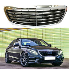 Silver Chrome Front Grille Mesh Vent Hole Trims For Benz S Class 2014-2016