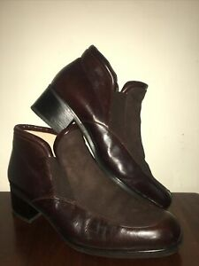Gabor Brown Leather suede Ankle Boots Heeled Vintage Women's UK 7