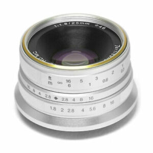 7artisans 25mm f/1.8 Manual Focus Lens for Fujifilm X Mount Cameras (Silver)