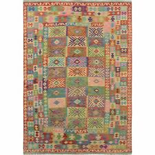 "6'1""x9'6"" Colorful Reversible Afghan Kilim Pure Wool Hand Woven Rug R57449"