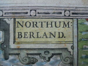 Map, by John Speed, of Northumberland, c.1610 - 1627,  Antique Original >
