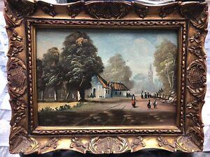 Gemälde Öl auf Platte signiert Haus am See Brücke Bäume