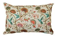 "Jacobean Hummingbird Boudoir Cushion in Cream. 17x12"" Double Sided 100% Cotton."