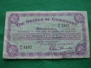 The States of Guernsey 10 Ten Shillings Banknote 1959 collectable grade