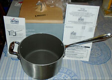 NWT NEW in BOX ALL-CLAD BRUSHED STAINLESS NONSTICK 4 QT SAUCE PAN w/LID+WARRANTY