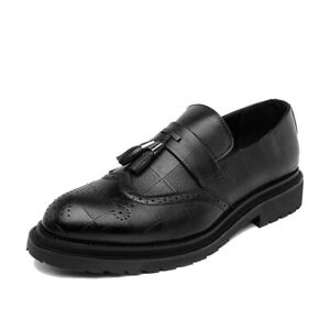 Mens Tassels Pointy Toe Wingtip Carved Oxford Brogue Business Fashion Flat Shoes