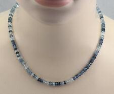 Aquamarin Kette facettiert brillante Aquamarine in verschiedenen Blautönen 46 cm