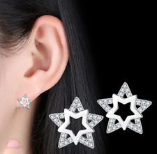 White Gold Plated Rhinestone Crystal Stars Dangle Long Drop Stud Earrings