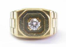 ABL Men's 18Kt Round Cut Diamond Solitaire Yellow Gold Square Ring .39Ct E-VVS2