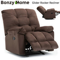 Large Size Glider Rocker Recliner Chair Manual Overstuffed Sofa Padded Wide Seat
