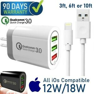 3ft,6ft,10ft USB  + 12W 18W 3-USB PORT Cube Wall Charger For Apple iPad 6th Air
