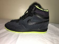 RARE Nike Air Force Sky High Shoes Sneakers W Size 9 Black Lime 644413-006 Bolt
