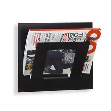 Designer Single Black Wall Mounted Magazine Newspaper Rack by The Metal House