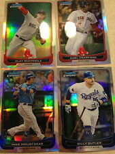 4 -2012 Bowman Chrome Refractor Butler Moustakas Crawford Bucholz Red Sox Royals