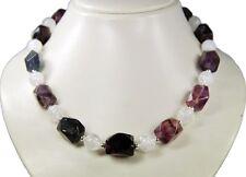 excepcional collar de Fluorita y cristal de roca tallado Octogonal escalonado