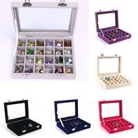 Glass Jewelry Case Organizer Box Holder Velvet Storage Earring Display Ring NEW