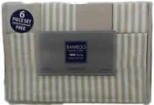 Queen Size Bamboo 1800 Count 6 pc Bed Sheet Set Striped Choose Your Color