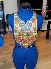 multicolour gold boho ethnic embroidery lace applique patch motif asian FOLK