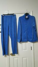 THE QUACKER FAMILY BLUE JOGGING SUIT WITH RHINESTONES /CROSS ON BACK  - SIZE L