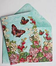 *PUNCH STUDIO Set of 5 Gold Foil Blank Note Cards w/Env~Berries Floral Butterfly
