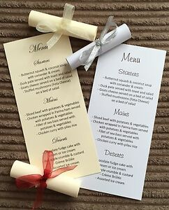 Wedding Menu Scrolls - Card Table Reception Party Any Occasion