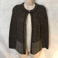Ann Taylor Loft Women's Black Gray Knit Open Front Cardigan Sweater Small Petite