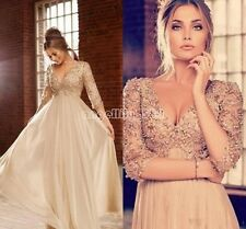 TOP lace beads Empire Pregnant/Maternity dresses bridal Gown Wedding Dress 6-20+