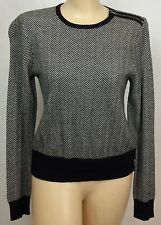 Women's Polo Ralph Lauren Black Gray Sz M Crew Neck Wool Cashmere Sweater NWOT