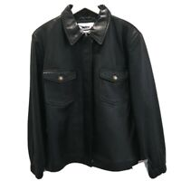 Imporal Mens Sz XL Leather Jacket Black Leather Zip Front Two Flap Pockets