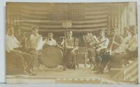 PA Erie Railroad RPPC Musicians Band Patriotic Real Photo c1908 Postcard M19