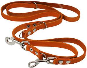 "Real Leather Dog Leash Schutzhund 6-Way European 49""up to 94"" long 3/4"" Orange"