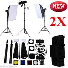 2X Strobe Fotostudio Blitzlicht Soft Box Studioleuchte Fotolampe Lichtstativ NEU