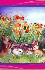 Bunnies and Flowers Easter House Flag