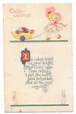 ANTIQUE EASTER POSTCARD CHILD GIRL SUNBONNET CHICKEN CART EGGS BUNNY RABBIT 1918