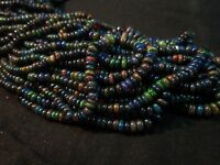 "34 Ct 17"" Natural Fire Play Black Ethiopian Welo Opal Rondelle Beads Strand"