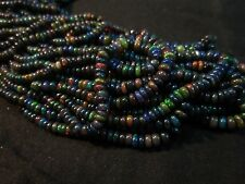 """34 Ct 17"""" Natural Fire Play Black Ethiopian Welo Opal Rondelle Beads Strand"""